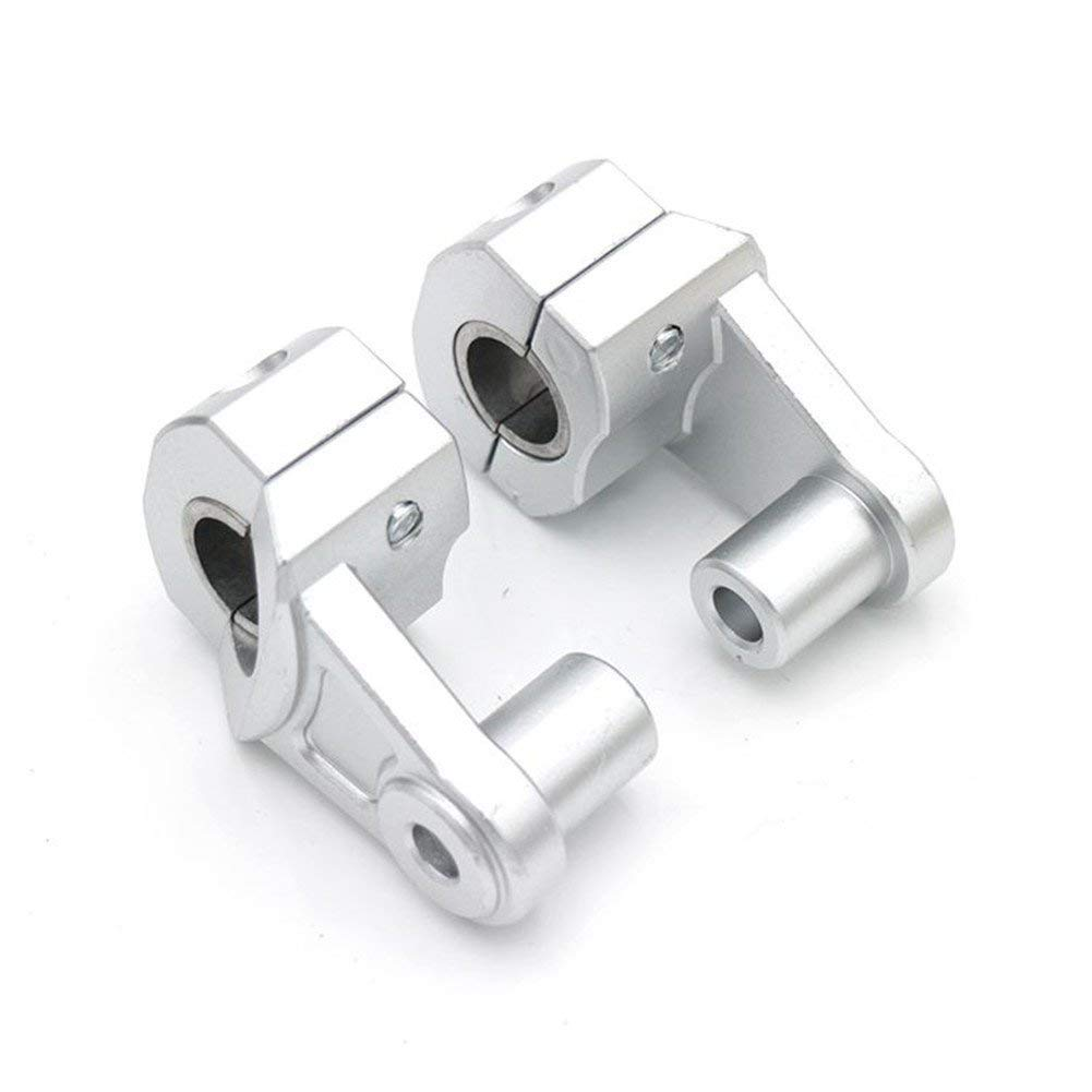 PJhao 7/8' 11/8' 22mm/28mm Universal Motorcycle HandleBar Risers Handle Fat Bar Mount Clamps Riser (Silver)