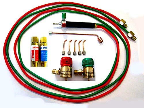 Devardi Glass Jewelers' Micro Torch Kit w/Regulators, Flash Arrestors, Rosebud, 5 tips, For Disposable -