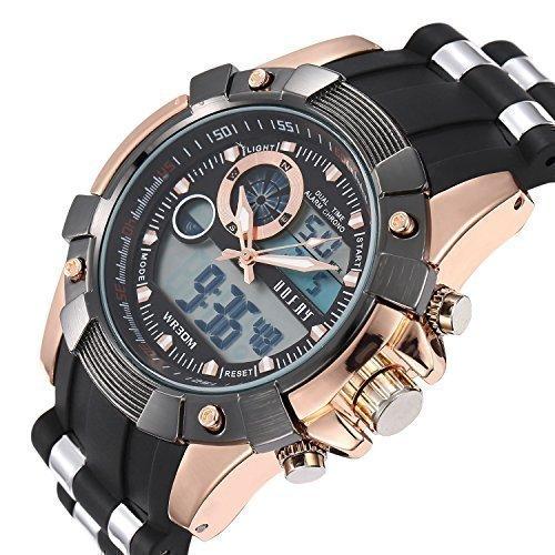 OOFAY ® Reloj oro rosa pulsera analógico Digital multifuncional deportes hombres: Amazon.es: Relojes