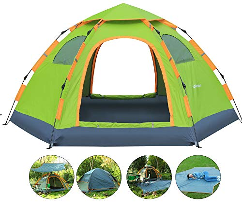 Wnnideo Instant Family Tent Automatic Pop Up Tents for Outdoor Sports Camping Hiking Travel Beach (Green with Tarp)