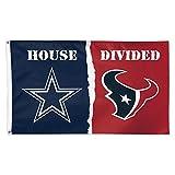 NFL House Divided Flag 3x5 Dallas Cowboys vs Houston Texans Grommets