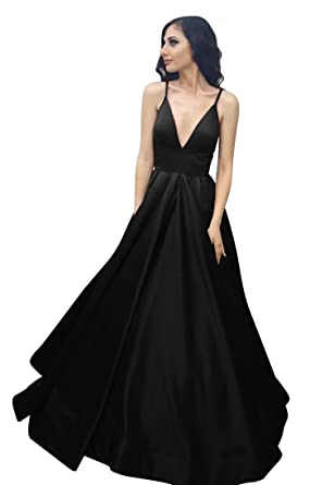 VinBridal Long Spaghetti Straps Satin Ball Gown Prom Dresses with Pockets  Black 2 694ff6eb6