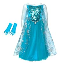 Authentic Disney Store's Frozen - Princess Elsa Sparkle Sequins Fancy Dress Costume For Kids Girls with Gloves (9 - 10 Years) by Disney