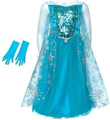 Disney Original Costume Robe Avec Eclat Et Des Gants Frozen Elsa La Reine Des Neiges Taille 7 8 Annees Amazon Fr Jeux Et Jouets