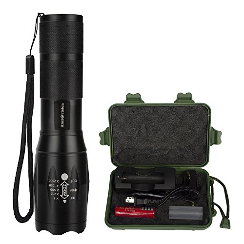 Super Bright Handheld Led Torch Waterproof with Rechargeable Battery, Adjustable Focus and 5 Light Modes for Kids Women Camping Hiking Emergency by Amz vision