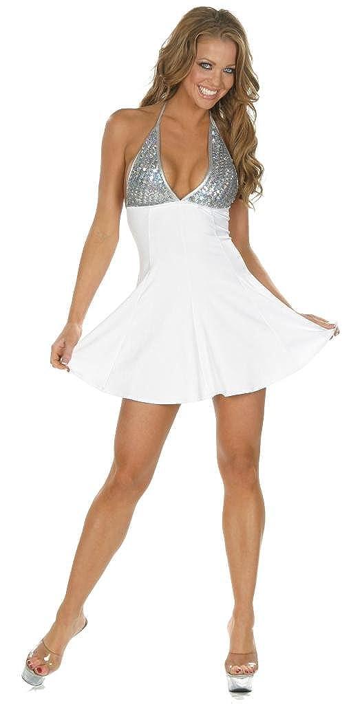 a21a8abe3462 Amazon.com: Nom de Plume, Inc Women's StrechSexy Clubwear Lycra Sequin  White Dress: Clothing