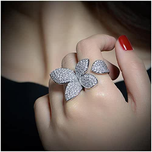Dnswez Adjustable Fashion CZ Crystal Butterfly Statement Between the Finger Ring Cocktail 2 Finger Ring