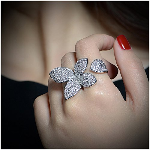 Dnswez Two Finger Ring Flower Open Cubic Zirconia Sparkly CZ Silver Cluster Cocktails Enage Butterfly Statement Rings For Women Girl Adjustable Size 7-9