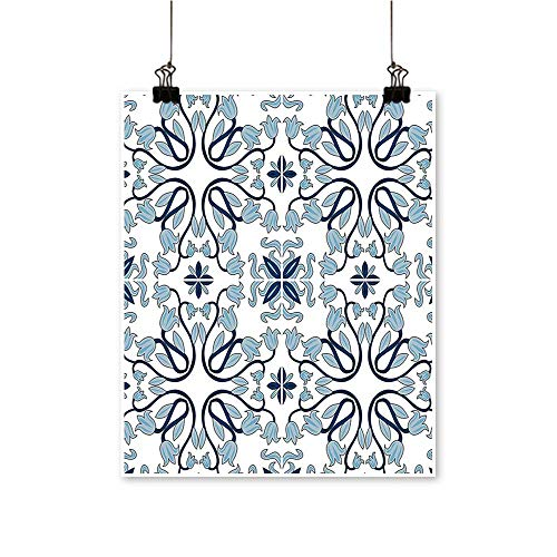 Single Painting Medieval Persian Palace Flower Leaf Shapes Arabian Artwork Light Blue Office Decorations,28