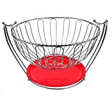Stand Fruit Basket , AIYoo Stainless Steel Fruit Bowl for Kitchen Countertops Decorative Stand Bowl Server for Fruit, Vegetables Strainer, Snacks food basket with Tray