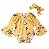 Newborn Baby Girl Floral Bodysuit+Headnband 2pcs Summer Flare Sleeve Fashion Jumpsuit 0-24Months (18-24 Months, Yellow)