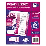 Ready Index Customizable Table Of Contents Asst Dividers, 10-Tab, Ltr, 24 Sets