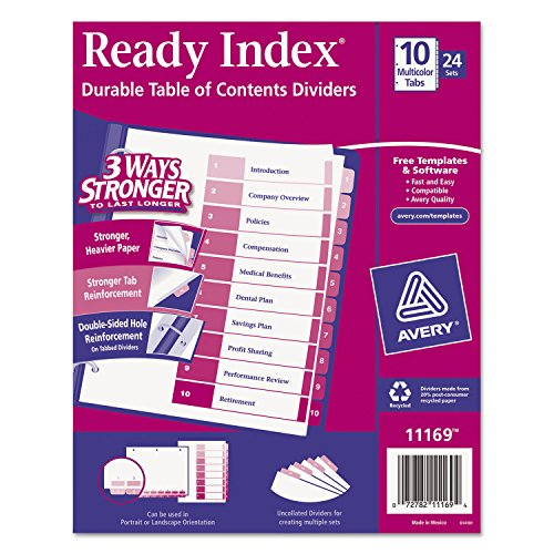Ready Index Customizable Table Of Contents Asst Dividers, 10-Tab, Ltr, 24 Sets by Avery