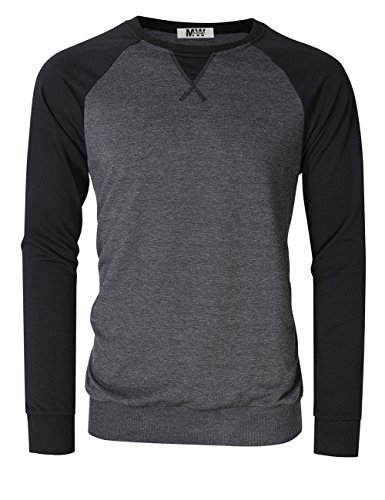 MrWonder Men's Casual Slim Fit Baseball Long Sleeve Jersey T-Shirt Pullover Raglan Shirts Black Sweatshirts XL