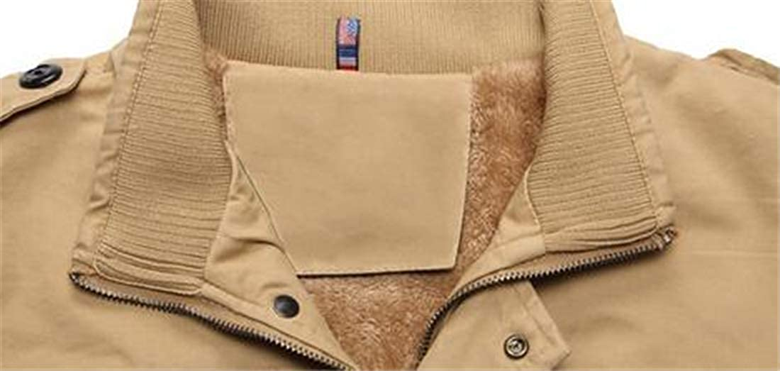 Spirio Mens Fleece Lined Thicken Stand Collar Cotton Warm Winter Trench Coat Outwear