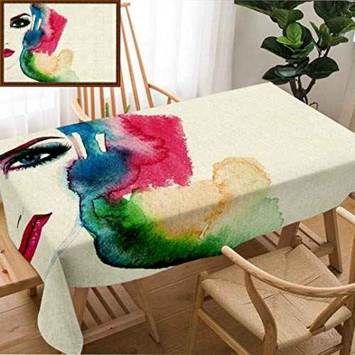 Skocici Unique Custom Design Cotton and Linen Blend Tablecloth Beautiful Woman Face Hand Painted Fashion IllustrationTablecovers for Rectangle Tables, 60