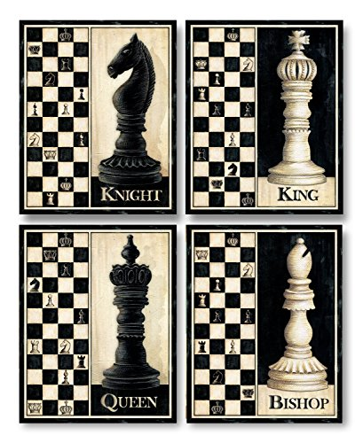 Check Mate! Classic King, Queen, Knight, Bishop Chess Piece Sign; Four 11 x 14 Poster - Checkmate Painting