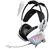 Sades SA913 Wired Over Ear Vibration USB Gaming Headset - White