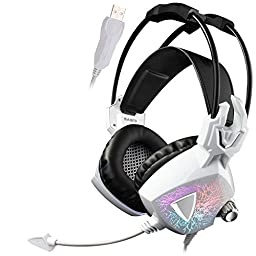 Sades SA913 Wired Over Ear Vibration USB Gaming Headset - White