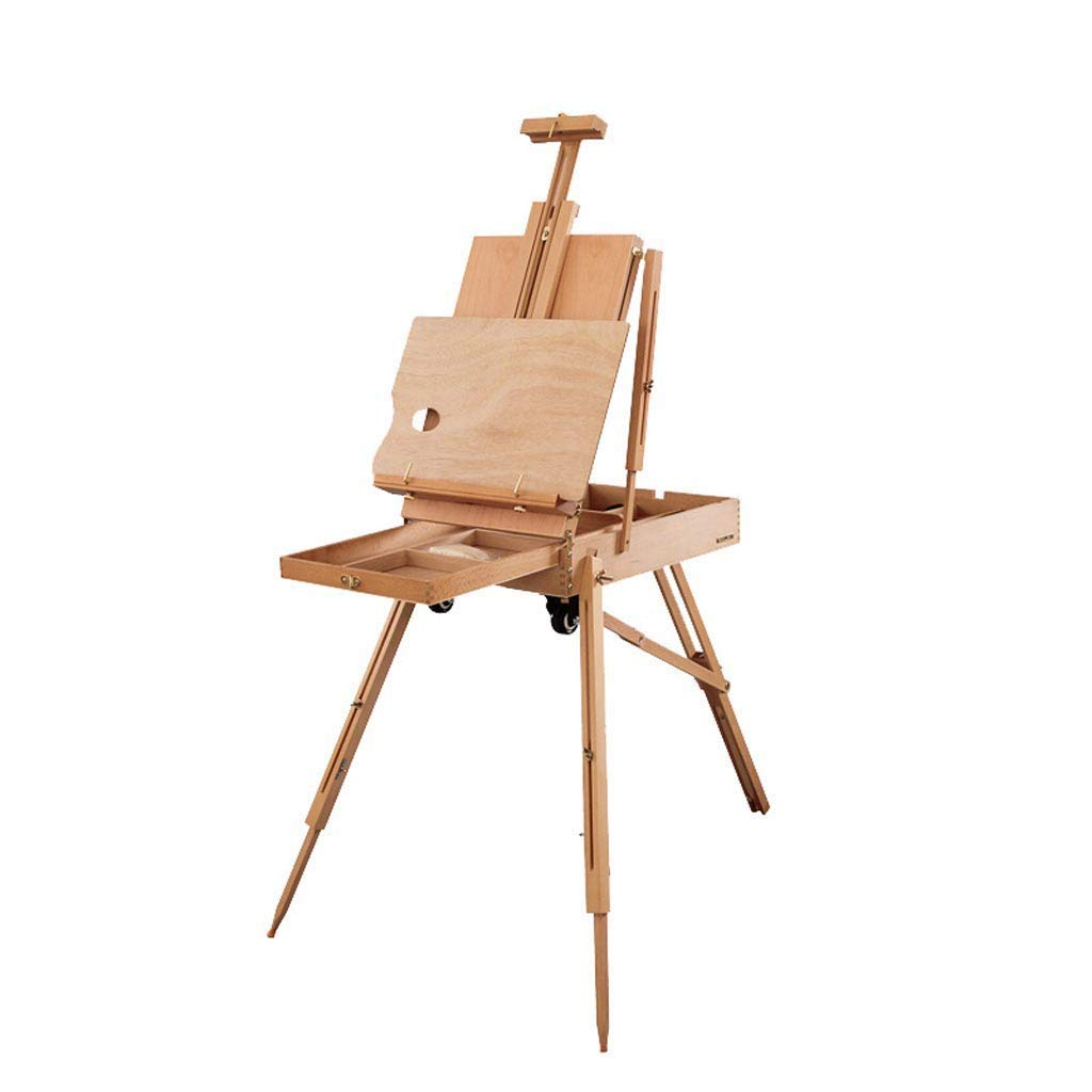 NSHUN 折りたたみイーゼル木製イーゼル、アートスケッチボックス、タイロッド付きポータブル折りたたみ式描画三脚、芸術家のためのホイール、画家   B07NSVR1D8