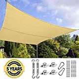 Quictent 24X24FT 185G HDPE Square Sun Shade Sail Canopy 98% UV Block Outdoor Patio Garden with Free Hardware Kit (Sand)