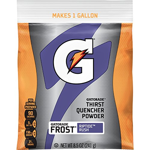 40k Gallon (Gatorade Thirst Quencher Powder, Riptide Rush, 8.5oz Pouch, Makes 1 Gallon/Pouch, 40 Count)