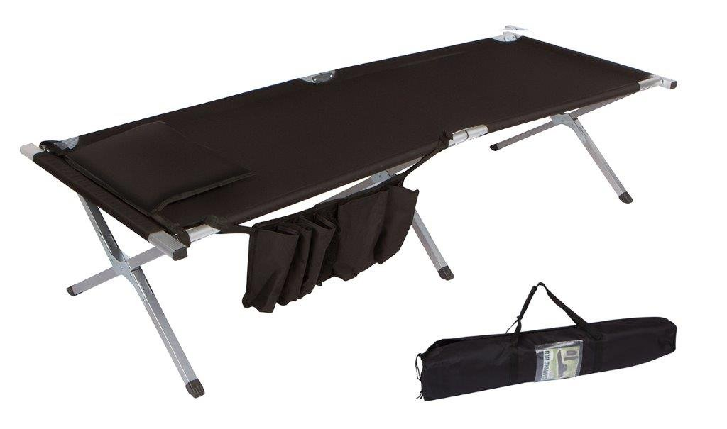 Trademark Innovations 75'' Portable Folding Camping Bed & Cot with Pillow & Side Storage Pocket, Black