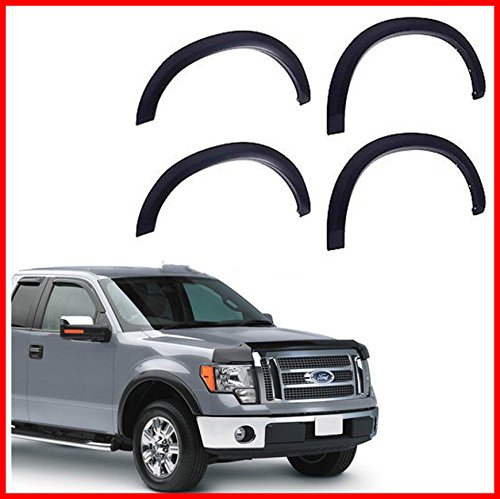 Nova for 09-14 FORD F150 Pickup Fender Flares Protector Set 4 Piece Smooth Matte Black Paintable OE Style 2009 2010 2011 2012 2013 (Oem Flares)