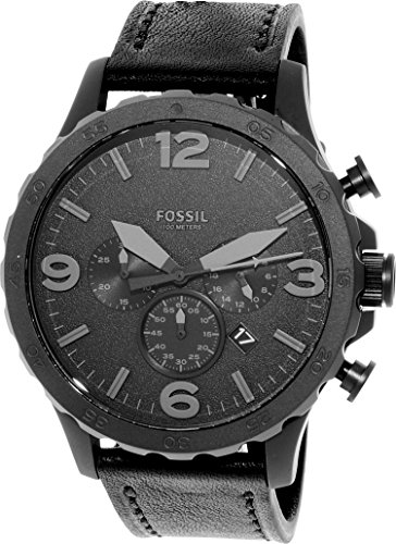 Fossil Men's JR1354 Nate Stainless Steel Chronograph Watch with Black Leather Band by Fossil
