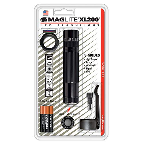 Maglite XL200 LED 3-Cell AAA Flashlight Tactical Pack, Black