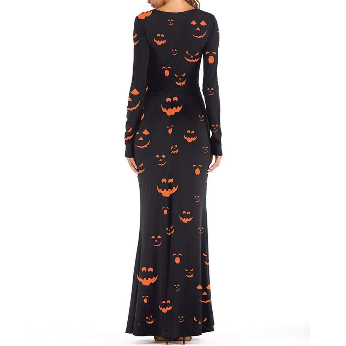 4883b62384ce3d Sport & Freizeit Moonuy Frauen Knöchellangen Kleid Damen Langarm Kleidung  Kürbisse Halloween 3D Print Casual Abend ...