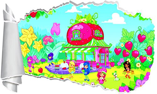 Strawberry Shortcake 3D Torn Hole Ripped Wall Sticker Decal Decor Art Kids WT364, -