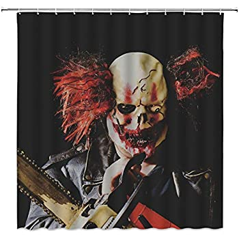 jingjiji Horror Clown Shower Curtain Ghost Black Circus Funny Creative Halloween Bathroom Decoration Curtains Polyester Fabric Waterproof with Hook 70 X 70 Inch