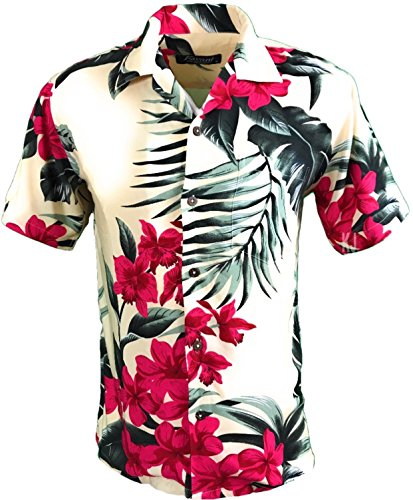 Tropical Luau Beach Floral Print Men's Hawaiian Aloha Shirt (Medium, Cream/Pink) (Pink Cream Floral)