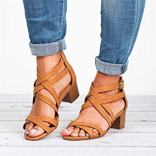 CCOOfhhc Womens Gladiator Open Toe Heeled Sandals Criss Cross Strap Ankle Wrap Zipper Sandals Summer Beach Thongs Sandals Brown by CCOOfhhc (Image #1)