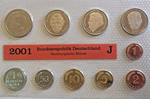 - DE 2001 2001 J Germany Deutsche Mark 10 Coins Official Se Good