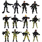 Liberty Imports [12 Pack] Special Forces Army Combat SWAT Soldier Action Figures with Military Weapons and Accessories (4-Inches)