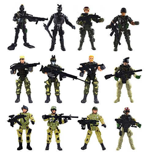 [12 Pack] Special Forces Army Combat SWAT Soldier Action Figures with Military Weapons and Accessories (4-Inches) Action Figures