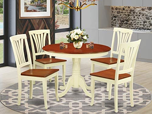 East West Furniture 5-Pc Kitchen Table Set Included a Round Dining Table and 4 Dining Room Chair