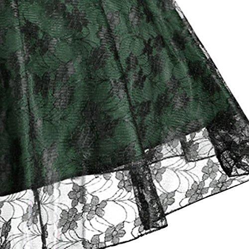 Shine Sra Gran talla retro flores cintura alta vestido de encaje Verde