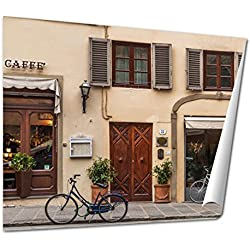 Ashley Giclee Bicycle Next To Caffe Shope Tuscany Italy wall art poster print for bedroom, ready to frame, 16x20 Print