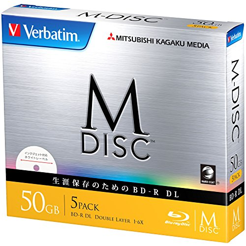 1000 Years Archival Verbatim M-Disc BD-R DL Inkjet Printable | 50GB 6x Speed | 5 Pack Jewel Case by Verbatim
