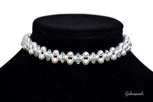 Amazon Com White Handmade Swarovski Crystal Pearl Collar Choker