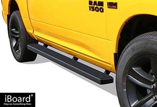 "APS iBoard Running Boards 5"" Matte Black Custom Fit 2009-2018 Ram 1500 Crew Cab Pickup 4Dr (Incl. 2019 Ram 1500 Classic)& 2010-2019 Ram 2500/3500 (Nerf Bars 