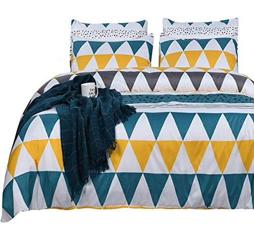New Triangle (SexyTown Lightweight Microfiber Duvet Cover Set Kids Duvet Cover Full/Queen Triangle Print Duvet Cover and Pillow Cases 3 Piece Quilt Bedding Set Christmas or New Year Gift (Full/Queen, Triangle))