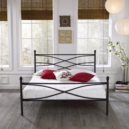 Metal Platform Bed Frame, Queen with Bonus Base Wooden Slat System, Unique Black Textured Finish