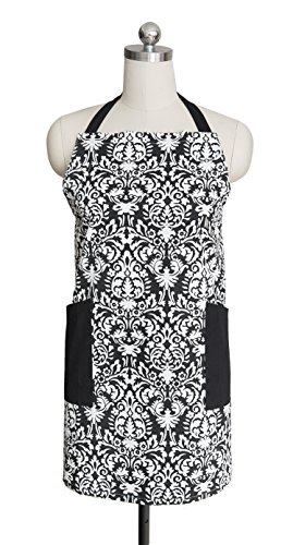[Cotton Craft - Damask Hostess Chef Apron with Tailored Double Pockets - Black & White - Soft yet Durable 100% Pure Cotton Twill Fabric - Great to wear while Baking or Cooking - Easy Care Machine] (Halloween Free Shipping)