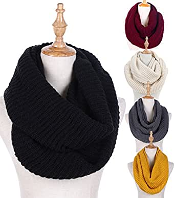 Knit Winter Infinity Scarf for Women Fashion Thick Warm Circle Loop Scarves Black