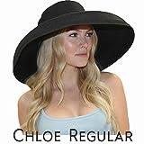 Chloe Wide Brim Derby Hat Women's Dress Sun Hat Fancy Tiffany Style (Regular, Black)