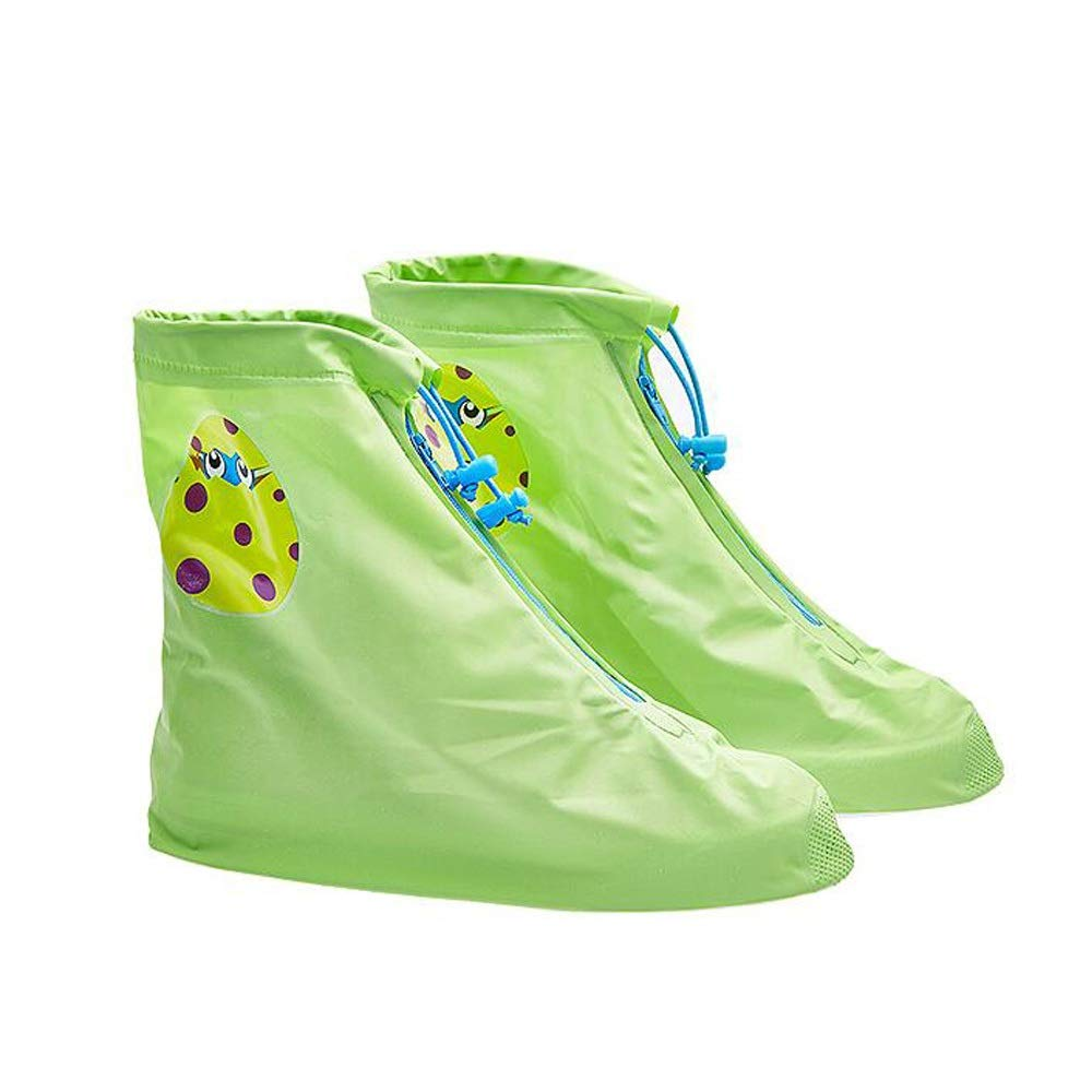 WUZHONGDIAN Shoe Cover, Waterproof Non-Slip Tube Child Shoe Cover, Reusable Shoe Cover (Color : Green, Size : S) by WUZHONGDIAN